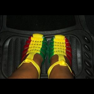 Shoes - Rasta colour jelly sandals